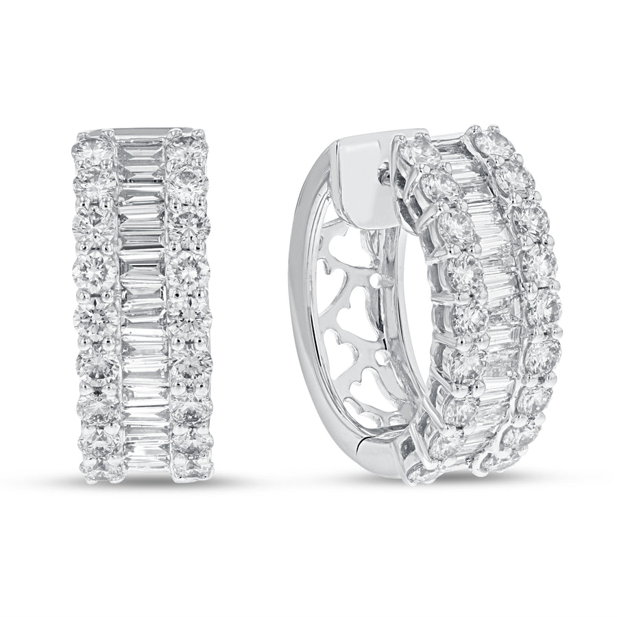 Baguette and Round Diamond Huggie Earrings - R&R Jewelers