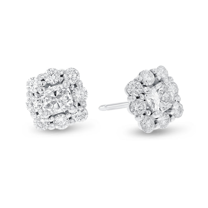 18K White Gold Diamond Earrings, 1.77 Carats