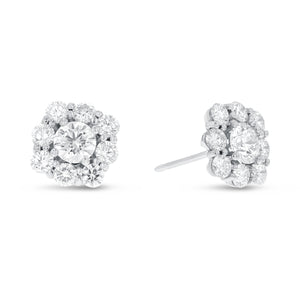 18K White Gold Diamond Earrings, 2.61 Carats