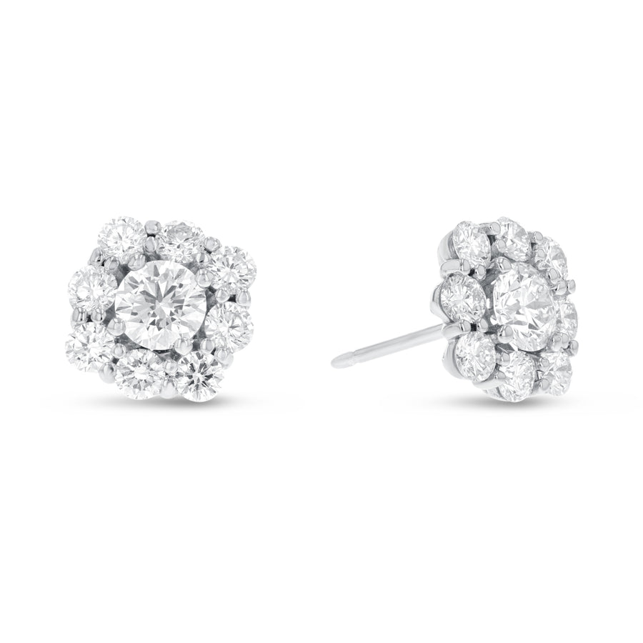 18K White Gold Diamond Earrings, 2.61 Carats - R&R Jewelers