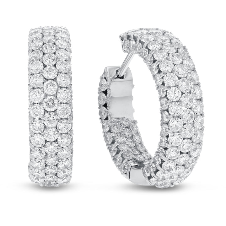 18K WHITE GOLD IN-AND-OUT PAVE Hoop Earrings, 5.09 Carats