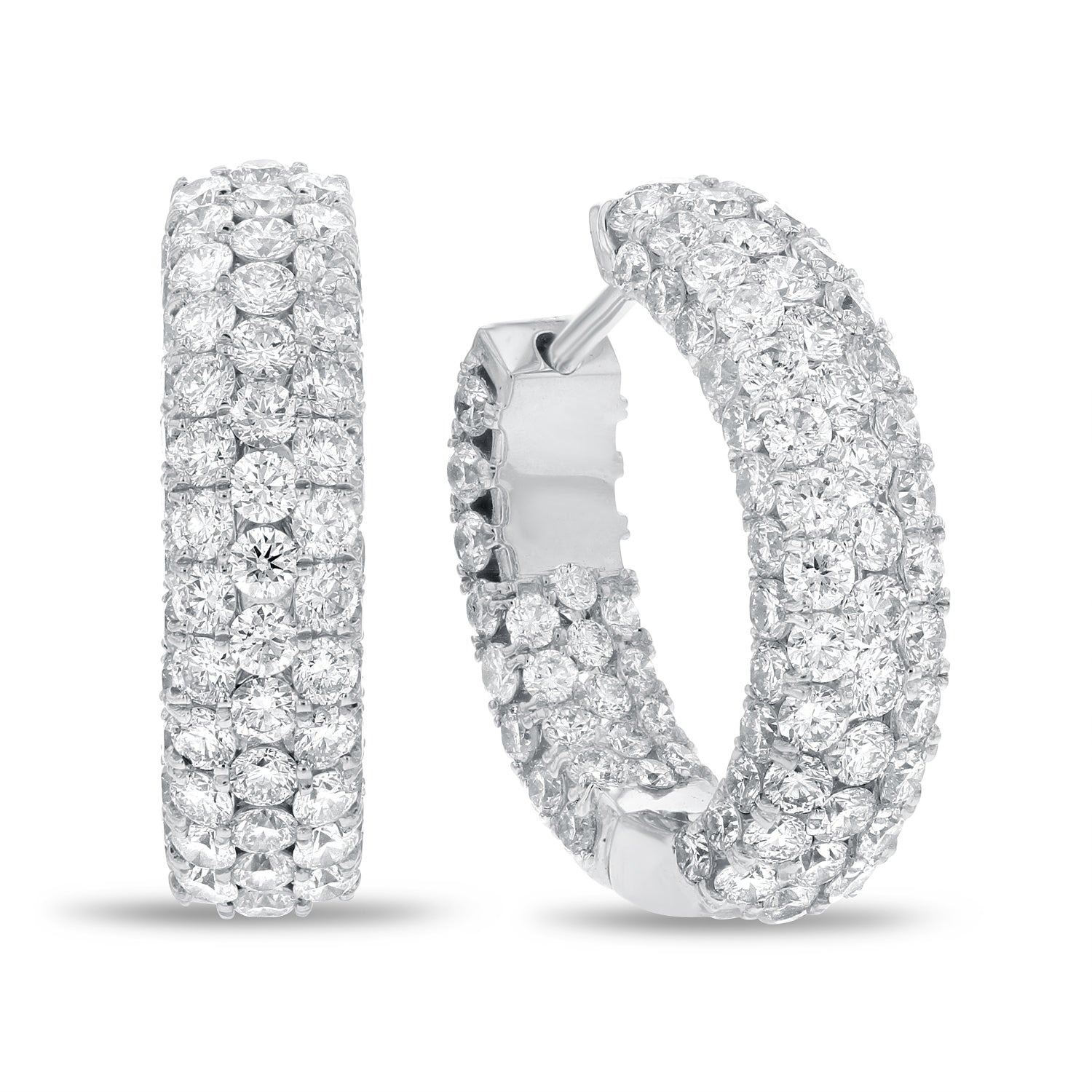 18K White Gold Hoop Earrings, 6.63 Carats