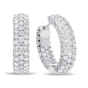 Three Row Diamond Hoop Earrings - R&R Jewelers