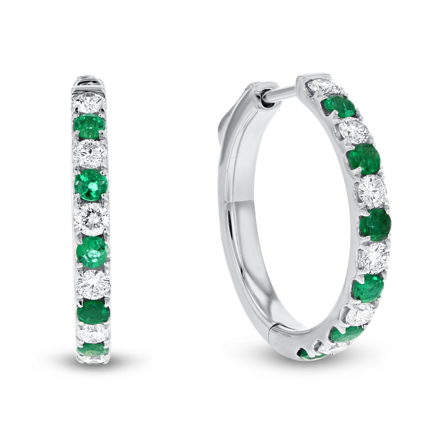 Alternating Diamond and Emerald Hoop Earrings - R&R Jewelers
