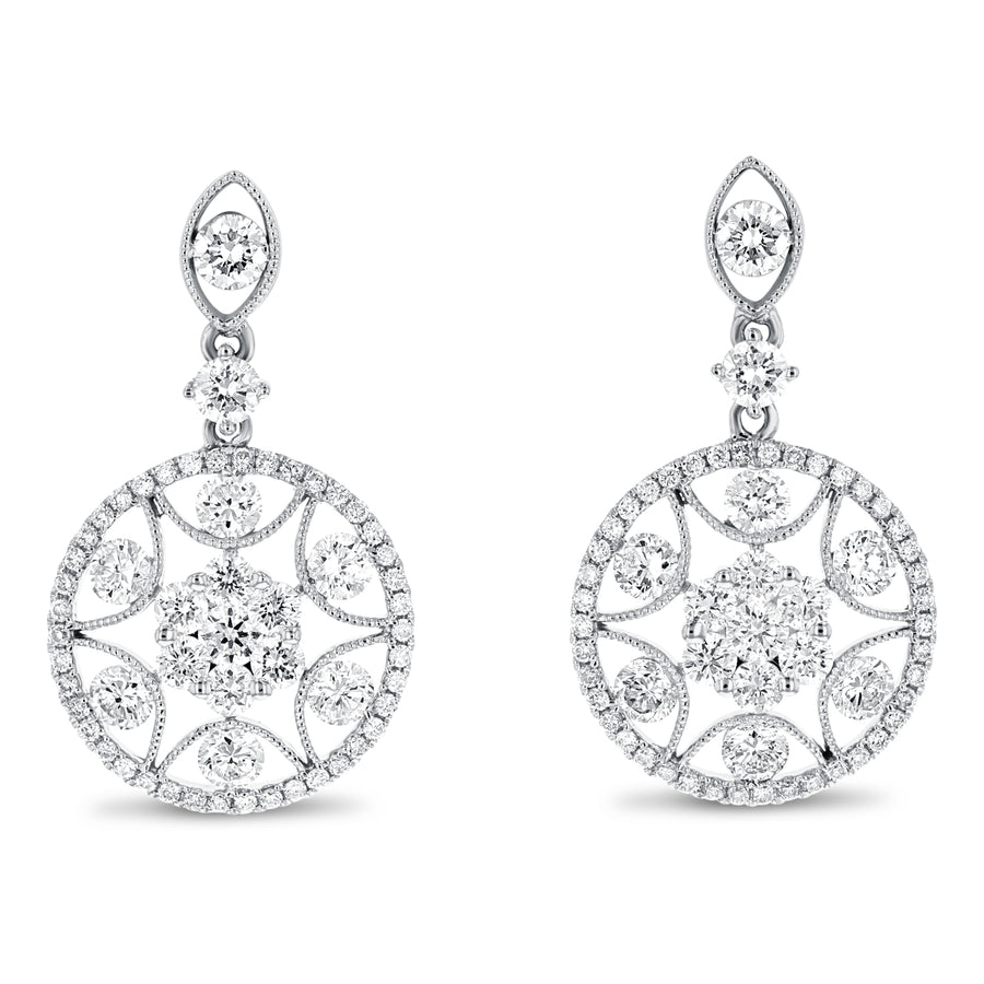 18K White Gold Diamond Earrings, 1.90 Carats - R&R Jewelers
