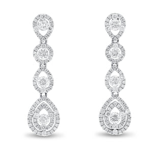 18K White Gold Diamond Earrings, 1.84 Carats - R&R Jewelers
