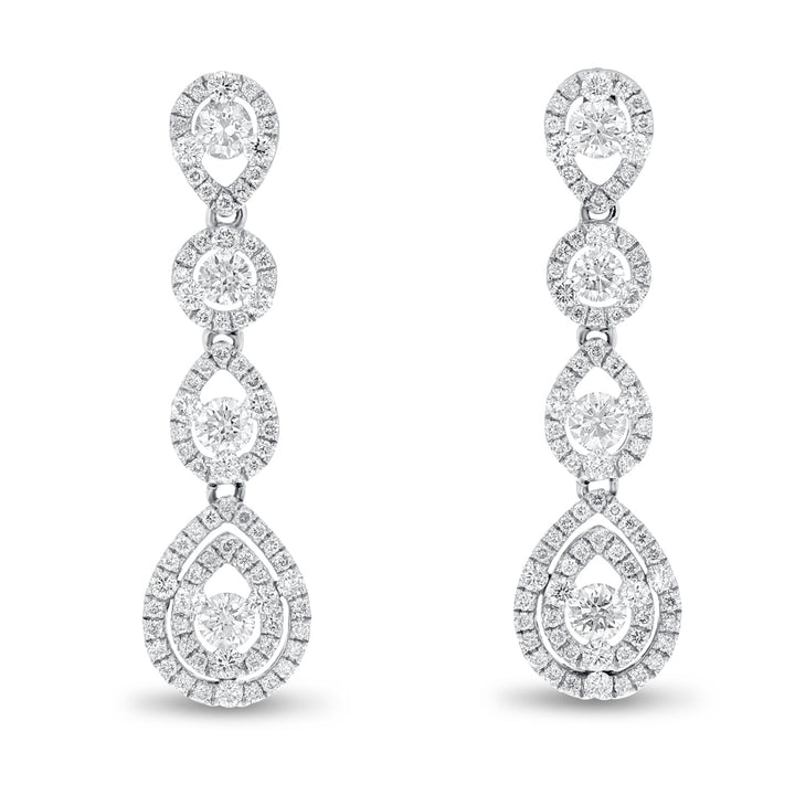 18K White Gold Diamond Earrings, 1.84 Carats