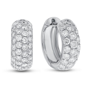 Four Row Diamond Huggie Earrings - R&R Jewelers