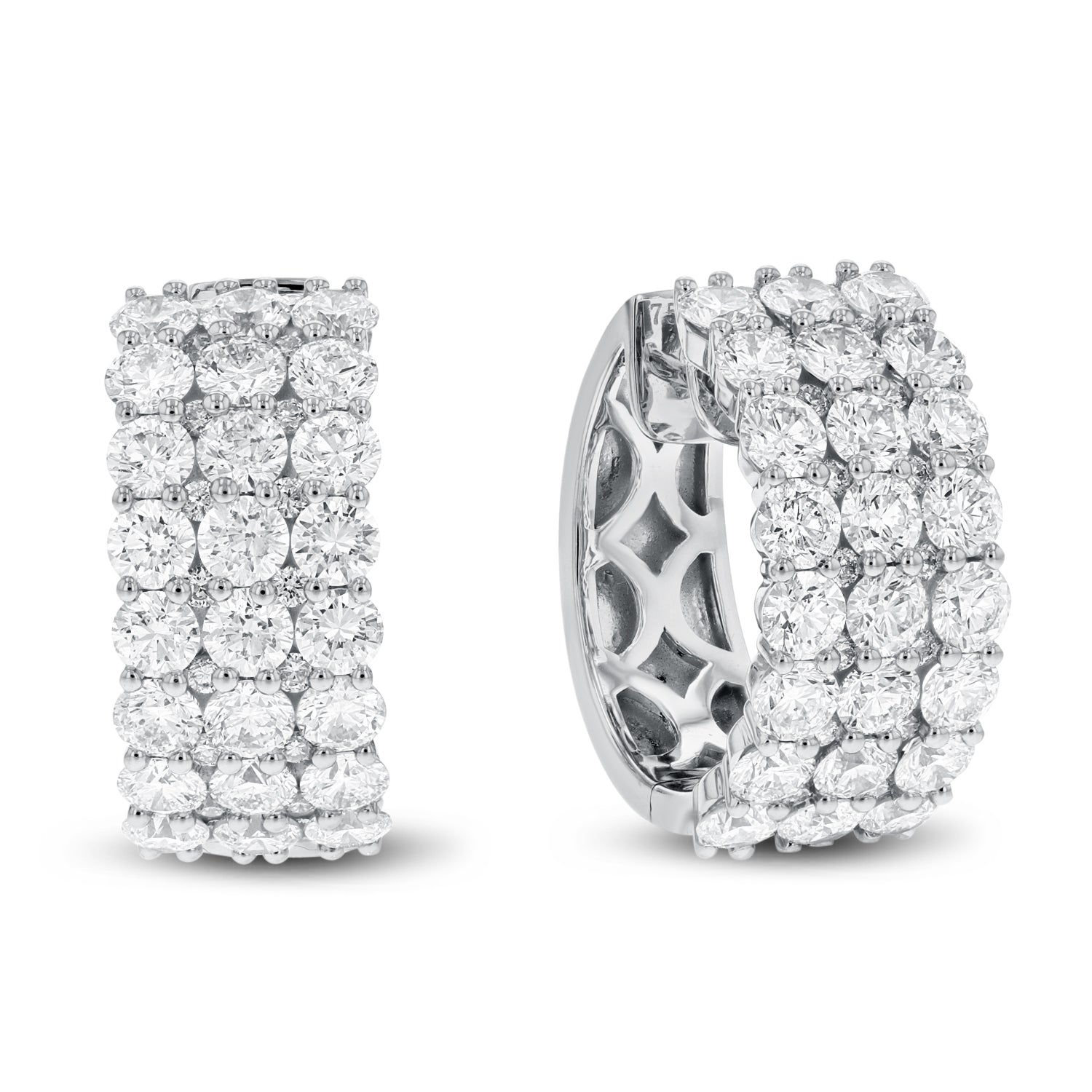 18K White Gold Diamond Earrings, 3.97 Carats
