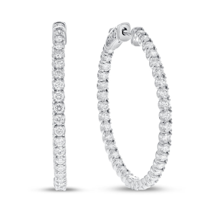 18K White Gold Hoop Earrings, 2.53 Carats