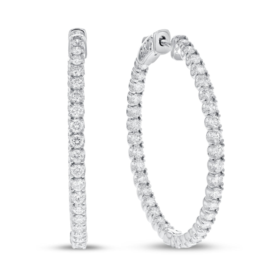 In and Out Diamond Hoop Earrings - R&R Jewelers