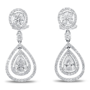 18K White Gold Diamond Earrings, 2.62 Carats