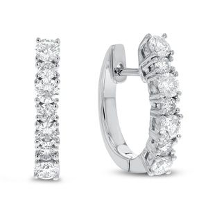 18K White Gold Huggy Earrings, 0.88 Carats