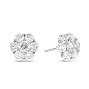 18K White Gold Diamond Earrings, 2.86 Carats