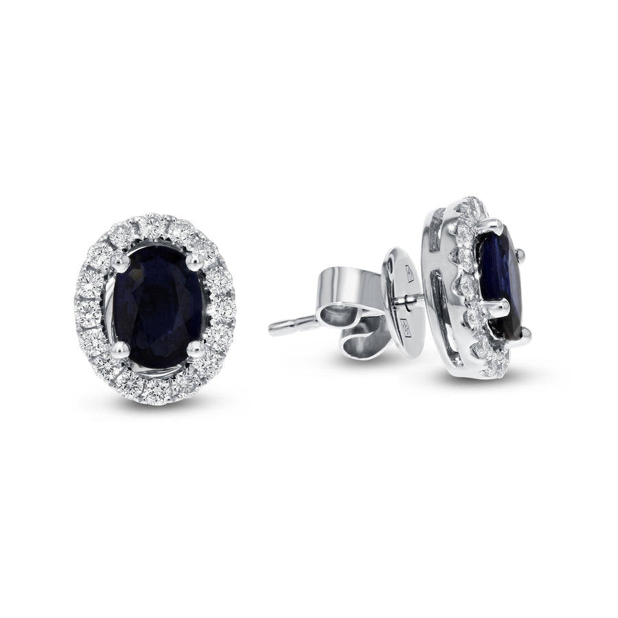 Oval Shaped Diamond and Sapphire Stud Earrings - R&R Jewelers