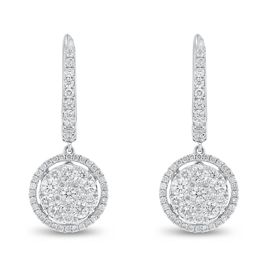 18K White Gold Diamond Earrings, 1.50 Carats - R&R Jewelers