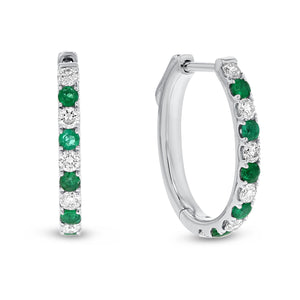 18K White Gold Diamond and Gem Earrings, 1.00 Carats - R&R Jewelers