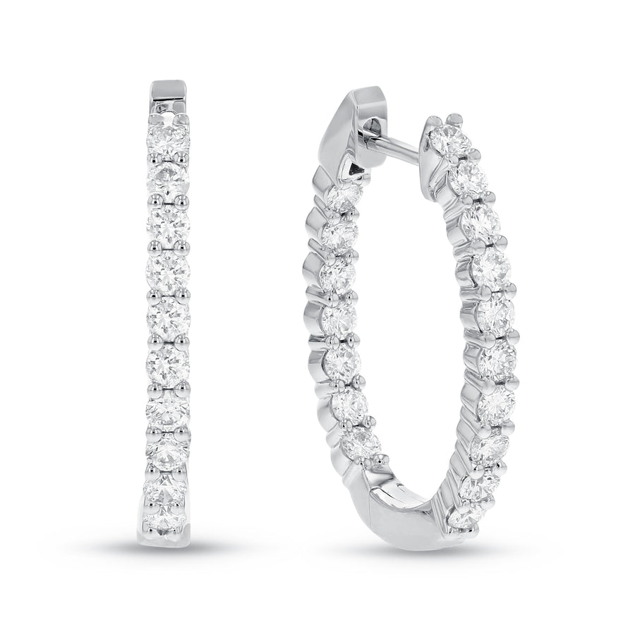 18K White Gold Hoop Earrings, 1.34 Carats