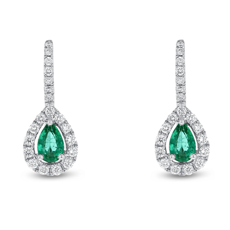 Pear Shape Emerald and Diamond Drop Earrings - R&R Jewelers