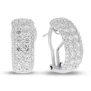 18K White Gold Diamond Earrings, 3.30 Carats