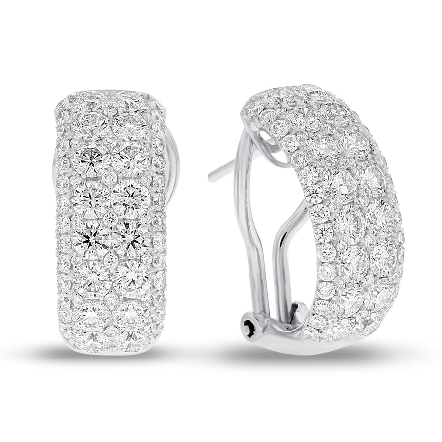 Illusion Set Diamond Omega Back Earrings - R&R Jewelers