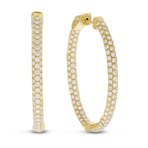 18K Yellow Gold Hoop Earrings, 3.67 Carats