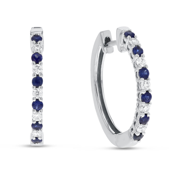 18K White Gold Sapphire and Diamond Earrings, 0.64 Carats