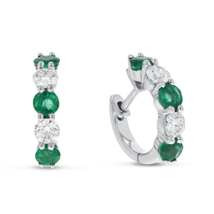 18K White Gold Diamond and Gem Earrings, 1.52 Carats