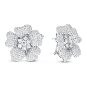 18K White Gold Diamond Earrings, 3.80 Carats