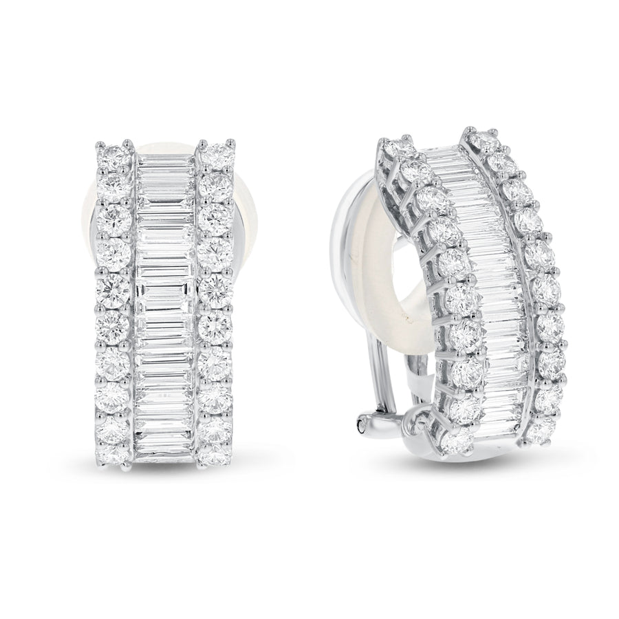 Baguette and Round Diamond Omega Back Earrings - R&R Jewelers
