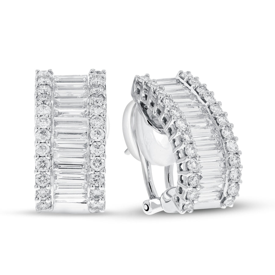 18K White Gold Diamond Earrings, 2.83 Carats - R&R Jewelers