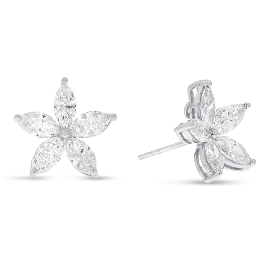 18K White Gold Diamond Earrings, 3.16 Carats