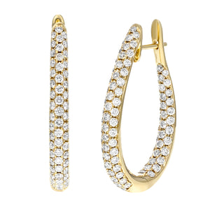 18K Yellow Gold Hoop Earrings, 3.02 Carats