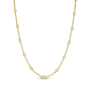 18K Yellow Gold Diamond Necklace, 1.01 Carats