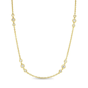 18K Yellow Gold Diamond Necklace, 1.31 Carats