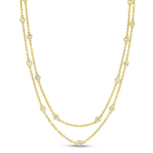 18K Yellow Gold Diamond Necklace, 1.51 Carats