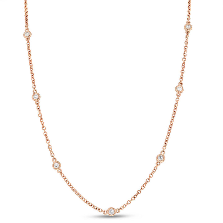 18K Rose Gold Diamond Necklace, 0.52 Carats