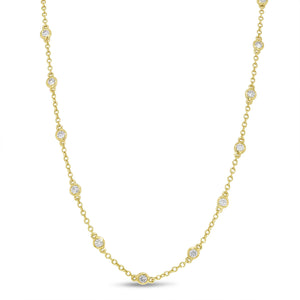 18K Yellow Gold Diamond Necklace, 1.03 Carats