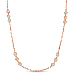18K Rose Gold Diamond Necklace, 1.77 Carats