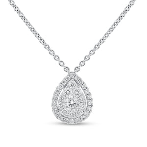 Diamond Cluster Pear Shape Pendant - R&R Jewelers