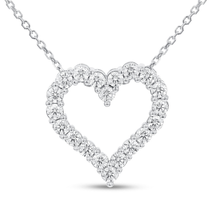Shared Prong Diamond Heart Pendant - R&R Jewelers