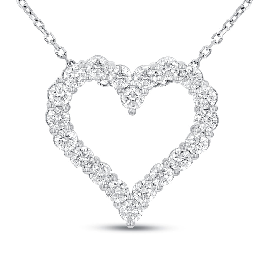 18K White Gold Diamond Heart Pendant, 3.41 Carats