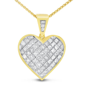 18K Yellow Gold Diamond Heart Pendant, 3.66 Carats