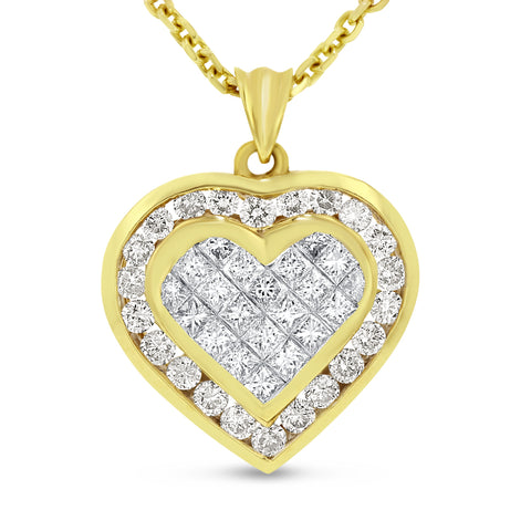 18K Yellow Gold Diamond Heart Pendant, 3.33 Carats