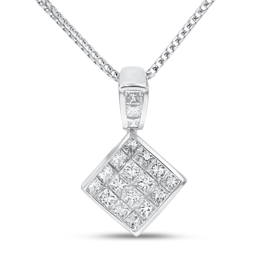 18K White Gold Diamond Pendant, 1.79 Carats