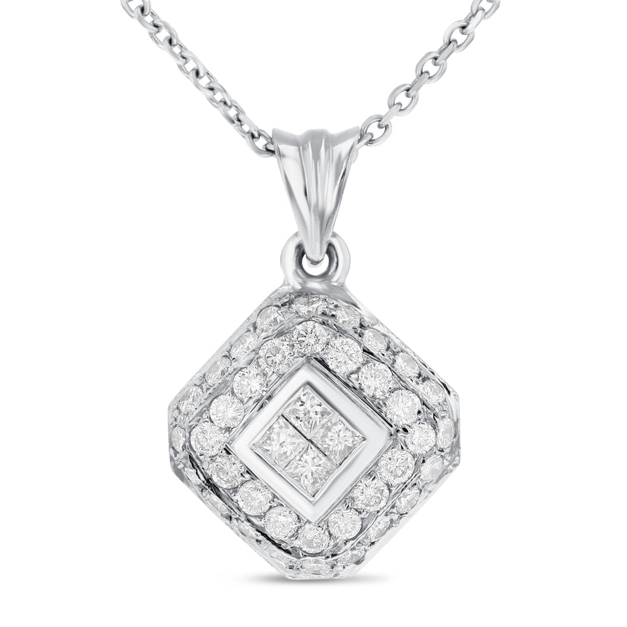 18K White Gold Diamond Pendant, 1.38 Carats