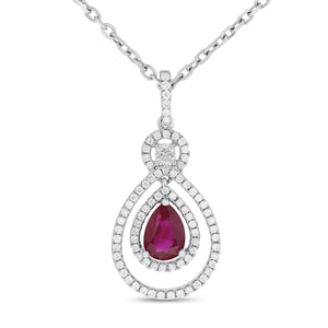 18K White Gold Diamond and Gem Pendant, 1.41 Carats - R&R Jewelers