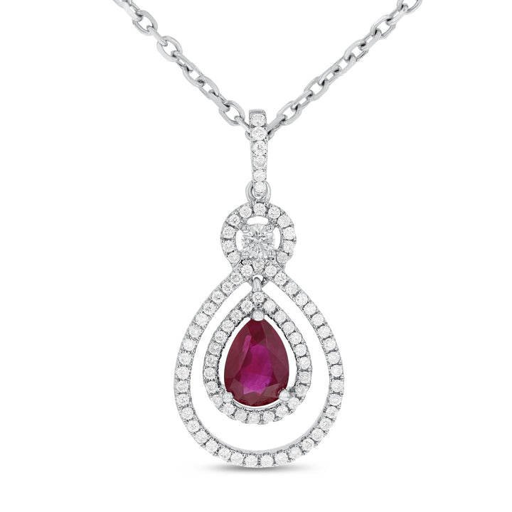 18K White Gold Diamond and Gem Pendant, 1.41 Carats