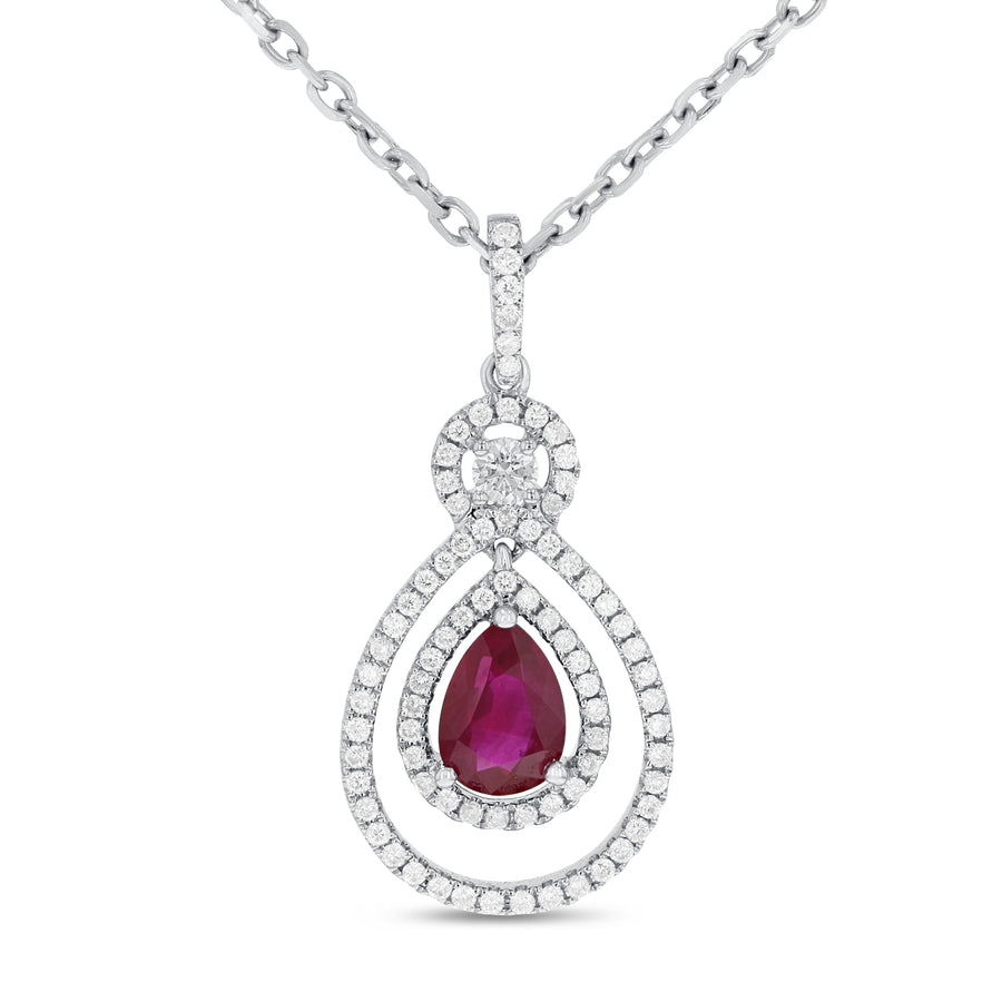Pear Shape Ruby Drop Pendant - R&R Jewelers