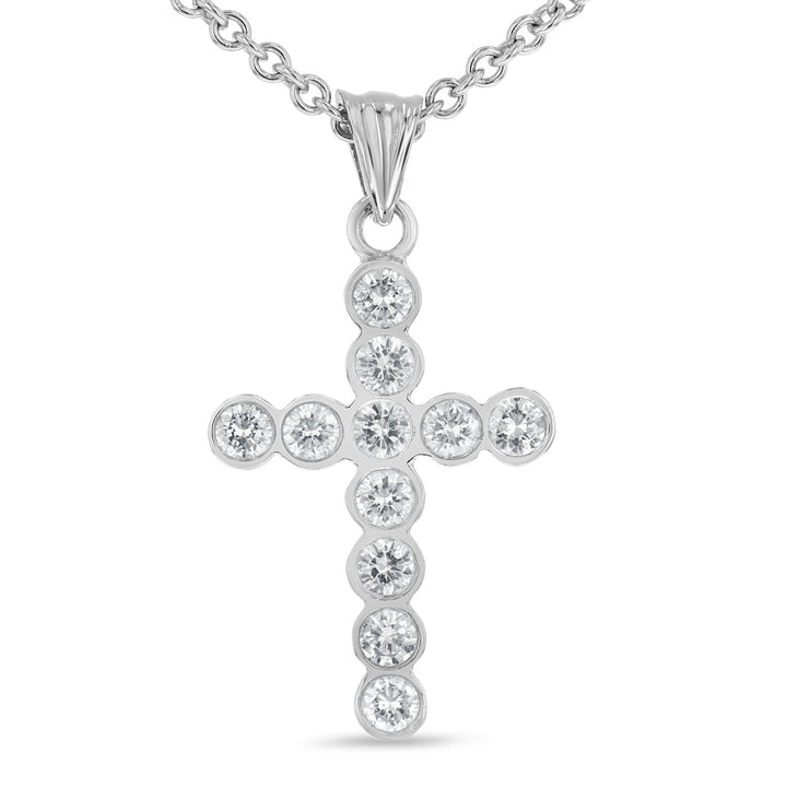 14K White Gold Cross Pendant, 0.96 Carats